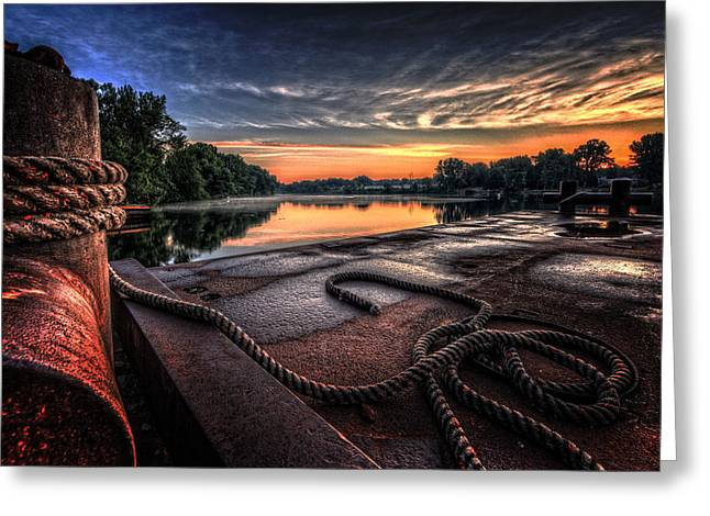 Barge Greeting Cards - Nautical Sunrise Greeting Card by Everet Regal