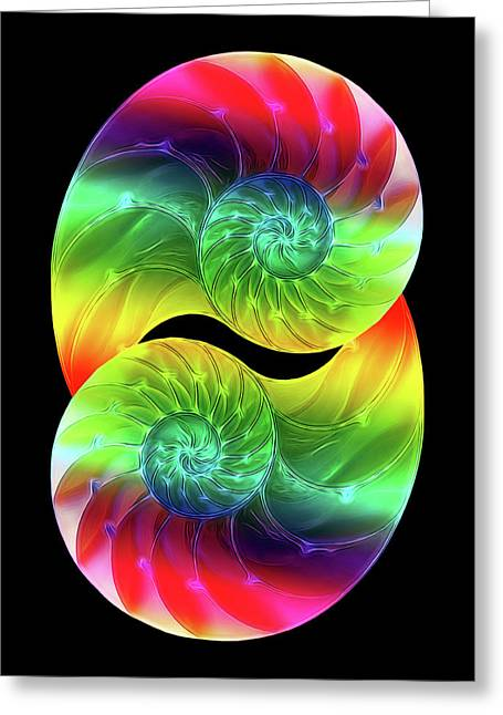 Nautilus Rainbow Vertical Greeting Card by Gill Billington