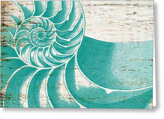 Nautilus Shell Distressed Wood Greeting Card by Brandi Fitzgerald
