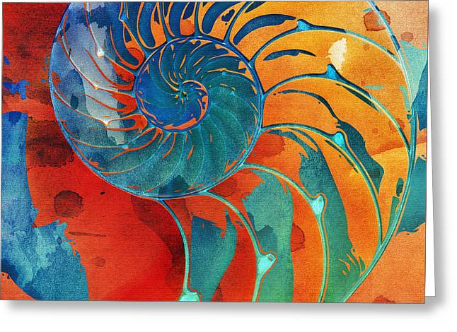 Nautilus Shell Orange Blue Green Greeting Card