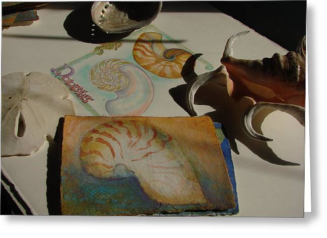 Nautical Pastels Greeting Cards - Nautilus Shell Greeting Card by Phyllis OShields