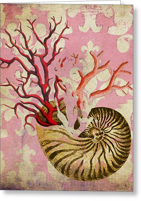 Nautilus With Coral Greeting Card