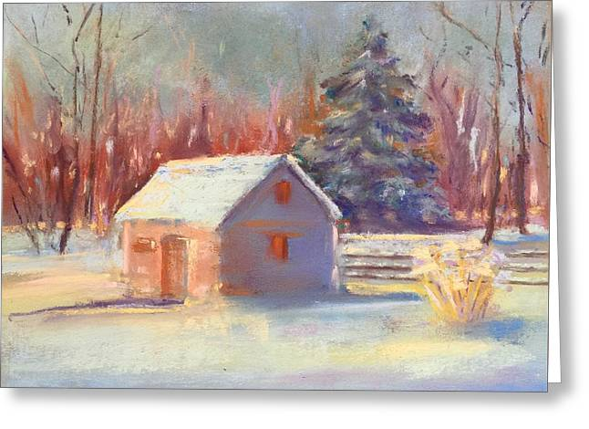 Greeting Card featuring the pastel Nauvoo Winter Scene by Rebecca Matthews