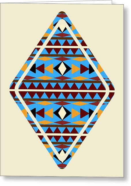 Navajo Blue Pattern Aged Greeting Card by Christina Rollo