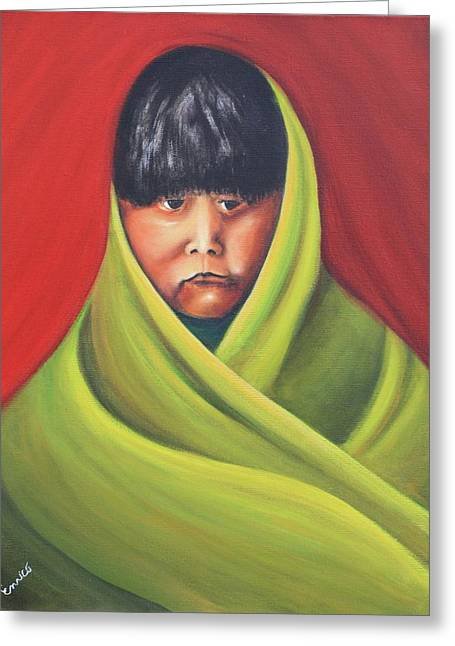 Navajo Child After E.s. Curtis Greeting Card by Art Enrico