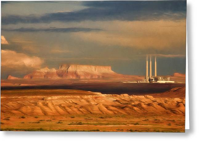 Greeting Card featuring the photograph Navajo Generating Station by Lana Trussell