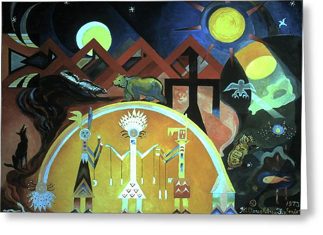 Navajo Gods Dance The Creation Of The World Greeting Card by Willoughby Senior