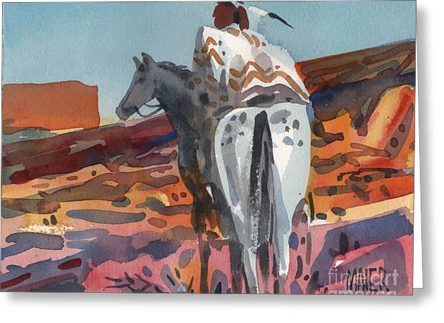 Navajo Rider Greeting Card by Donald Maier