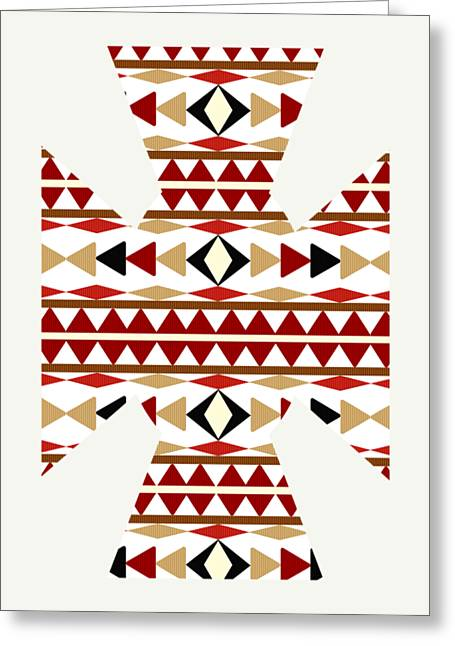 Navajo White Pattern Art Greeting Card by Christina Rollo