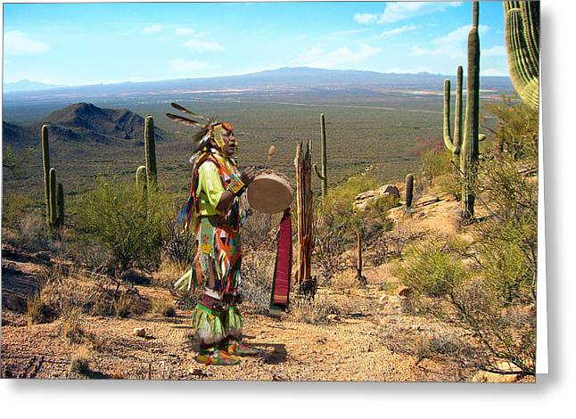 Navajo With Drum Greeting Card by Kathleen Prince