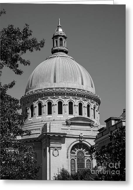 Naval Academy Chapel - Black And White Greeting Card
