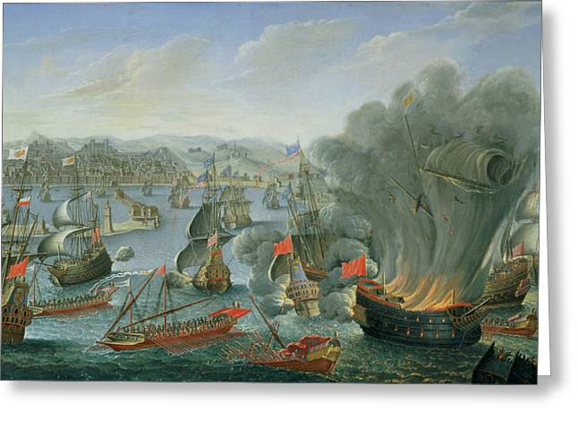 Naval Battle With The Spanish Fleet Greeting Card