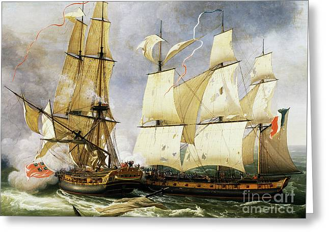 Naval Combat Between French Corvette La Bayonnaise And British Frigate L'embuscade Greeting Card by Jean-Francois Hue
