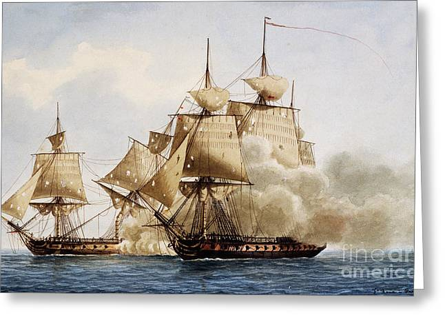 Naval Combat Between French Frigate Amazone And The Santa Margherita Greeting Card