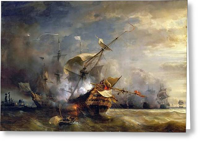 Naval Combat Off Cape Lizard In Cornwall Greeting Card