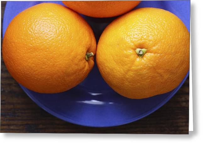 Naval Oranges On Blue Plate Greeting Card