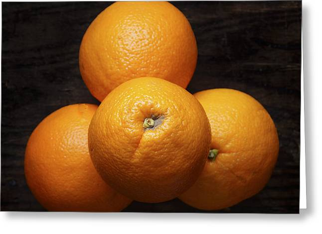 Naval Oranges On Wood Background Greeting Card