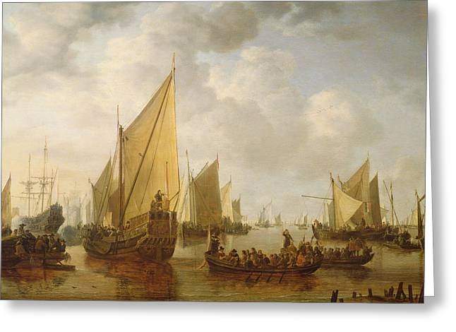 Naval Review Greeting Card by Simon Jacobsz Vlieger