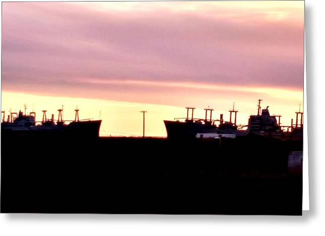Naval Ships On Grizzly Bay Greeting Card by Peggy Leyva Conley