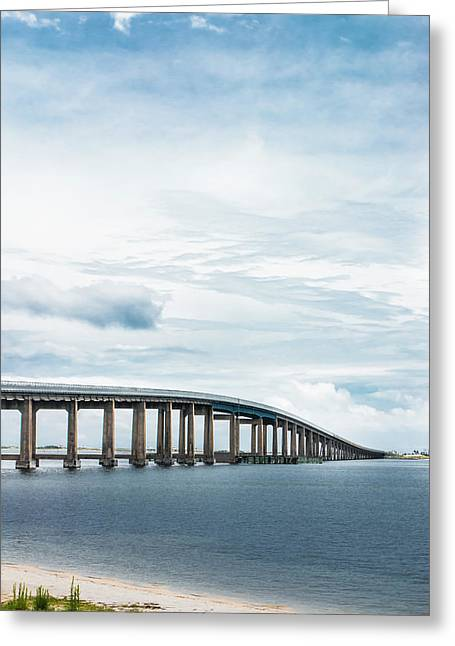 Navarre Bridge In Florida On The Sound Side Greeting Card by Shelby Young