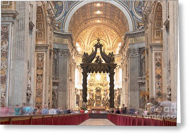 Nave Baldachin Cathedra And People Greeting Card by Fabrizio Ruggeri