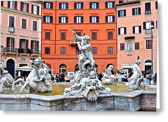 Navona Piazza Fountain Greeting Card by Frozen in Time Fine Art Photography