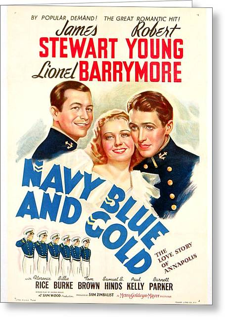 Navy Blue And Gold 1937 Greeting Card