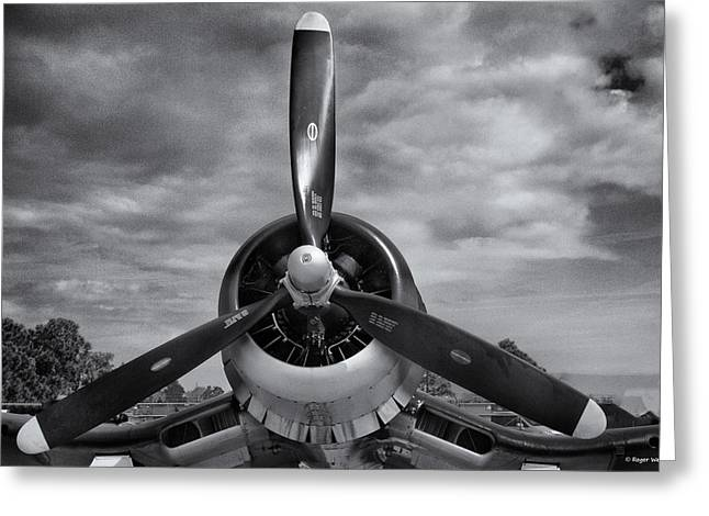 Navy Corsair Propeller Greeting Card by Roger Wedegis
