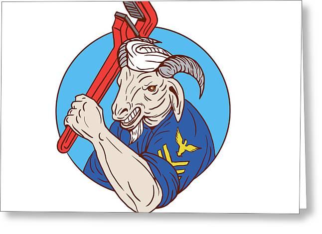Navy Goat Holding Pipe Wrench Circle Retro Greeting Card by Aloysius Patrimonio