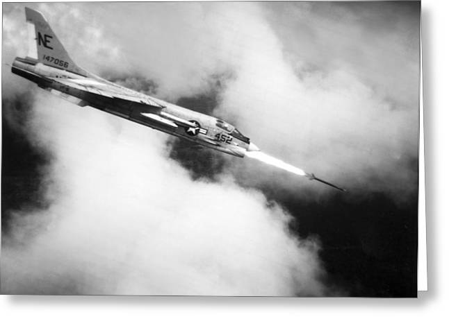 Navy Jet Fires At Viet Cong Greeting Card by Underwood Archives