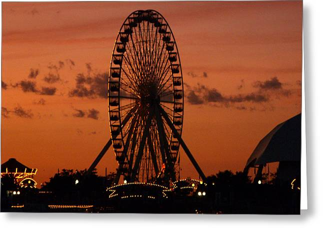 Navy Pier At Sunset Greeting Card by Jean Gugliuzza