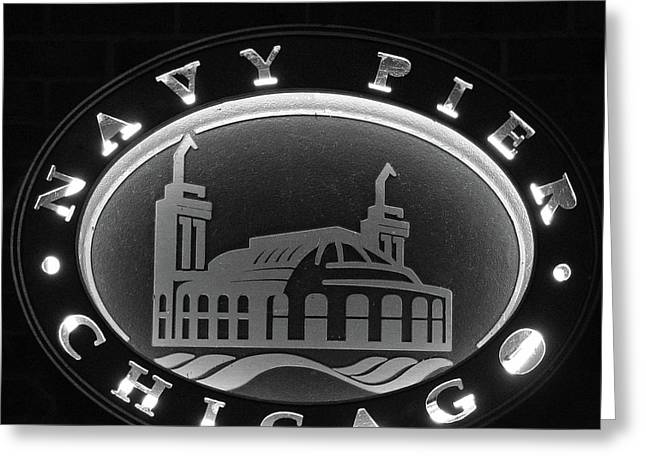 Navy Pier Chicago Sign Greeting Card