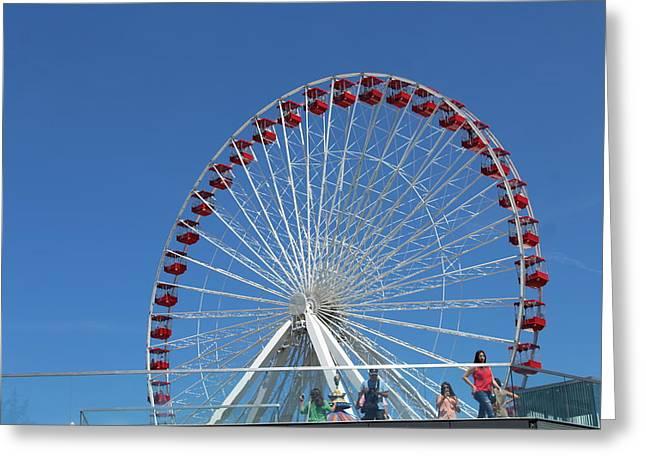 Navy Pier Ferris Wheel Greeting Card by Carolyn Ricks