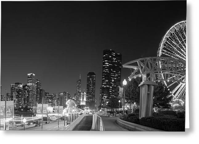 Navy Pier In Black And White Greeting Card