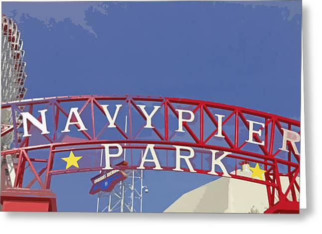 Navy Pier Greeting Card by Mary Machare