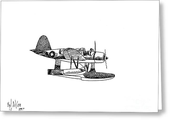 Navy Scout Observation Plane Pen And Ink No  Pi201 Greeting Card by Kip DeVore