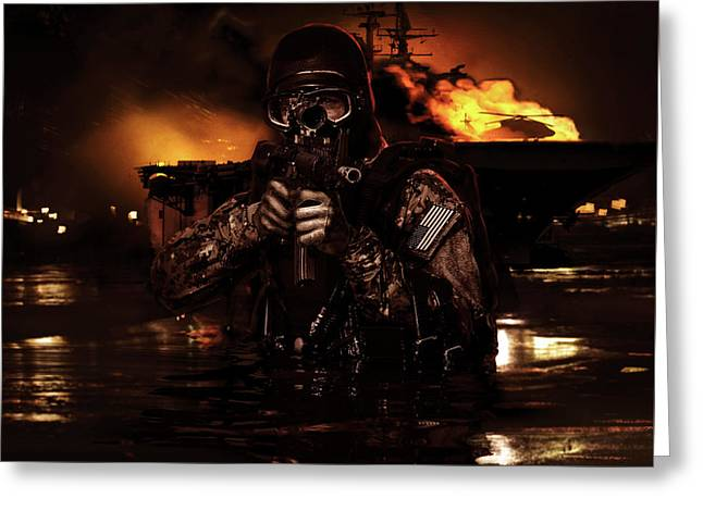 Navy Seal Frogman Greeting Card by Oleg Zabielin
