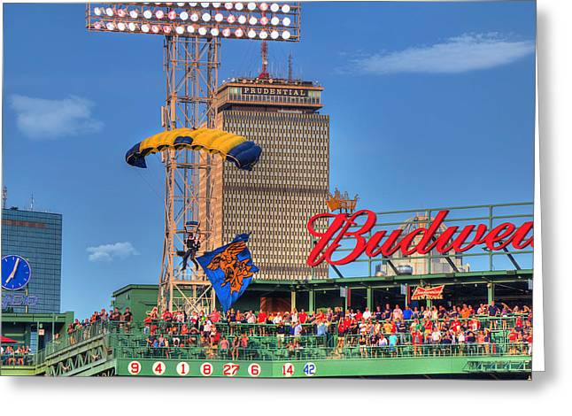 Navy Seals Parachuting Over Fenway Park - Boston Greeting Card by Joann Vitali