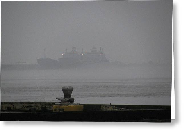 Navy Ships In The Fog Greeting Card by Tom Hefko