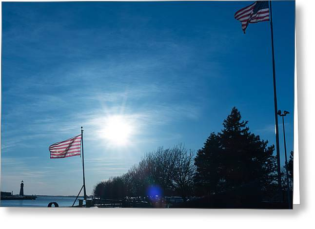 Navy Sunset Greeting Card by Chris Bordeleau