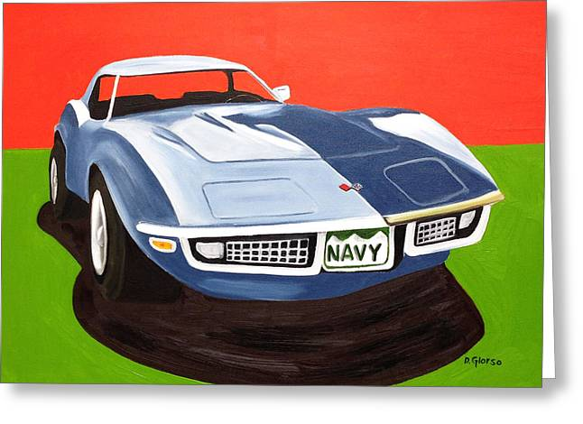 Navy Vette Greeting Card