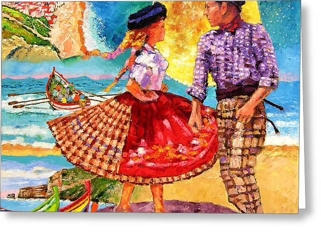 Nazare Portugal Greeting Card by John Lautermilch