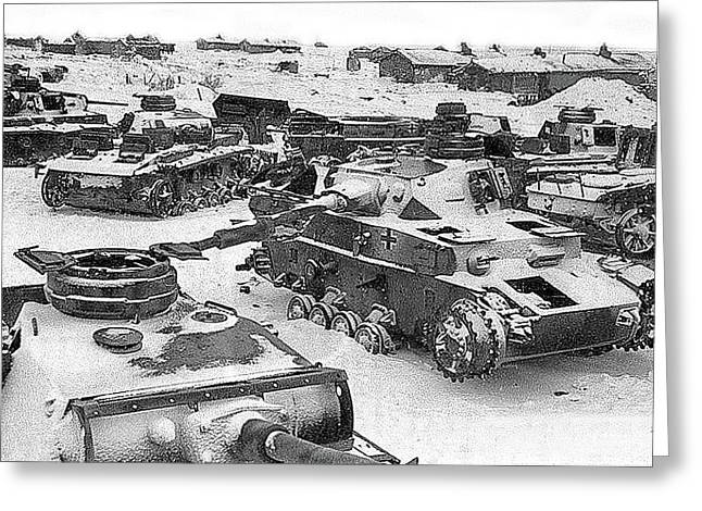 Nazi Tanks On The Outskirts Of Stalingrad 1942 Greeting Card by David Lee Guss