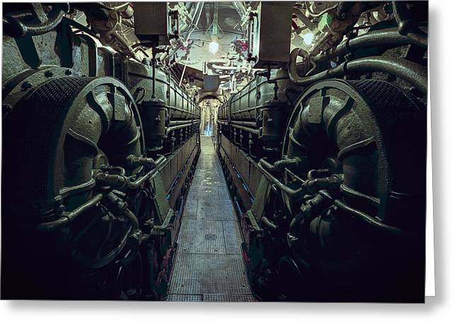 Nazi U-boat Submarine Engine Room - World War Two Greeting Card