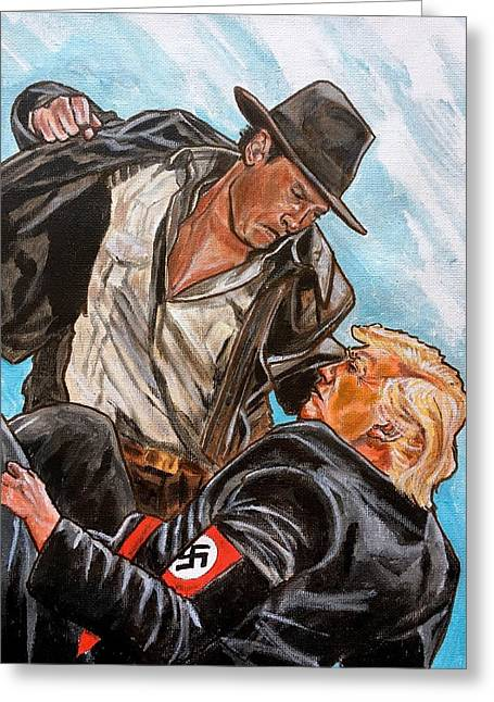 Greeting Card featuring the painting Nazis. I Hate Those Guys. by Joel Tesch