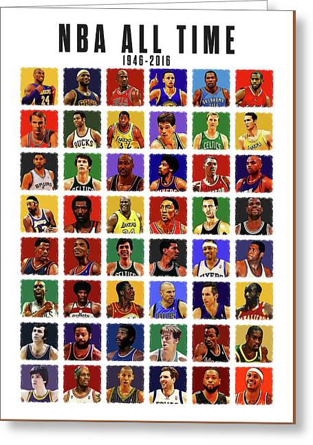 Nba All Times Greeting Card