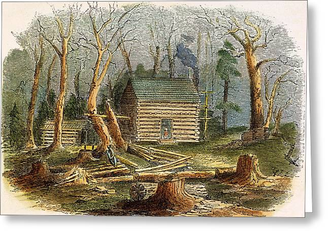 Antebellum Greeting Cards - N.c.: Log Cabin, 1857 Greeting Card by Granger
