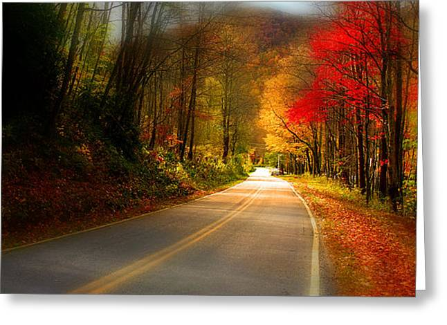 Nc Mountain Fall Drive Greeting Card by Gray  Artus