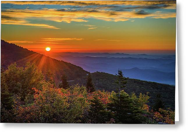 Nc Mountain Sunrise Blue Ridge Mountains Greeting Card
