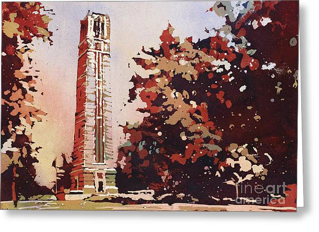 Greeting Card featuring the painting Ncsu Bell-tower II by Ryan Fox